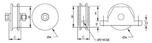 Bottom Gate Rollers - Zinc and Gold Passivat - Sliding Gates