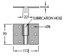 Diagram explanation of Double Butt Ball B Ring Hinge installation