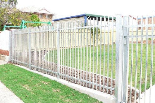 White steel fencing build around a ground