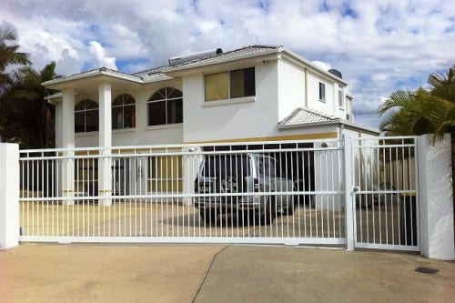 Automatic metal gates in front of the luxury holiday home