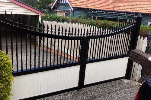 Upper view of modern driveway gate of a house