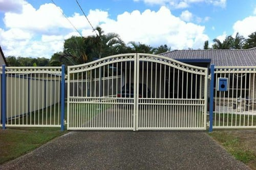 Beautiful automatic sliding gate in white and blue colour