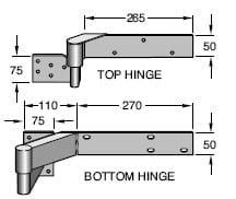 Rising Ball B Ring Hinges - Zinc Plated - Bolt On