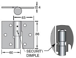 Trio Security Bolt On B Ring Hinge - Zinc Plated