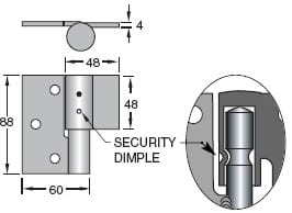 Trio Security Bolt On-Weld On - B Ring Hinge - Zinc Plated