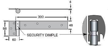 Trio Security Bolt-on Heavy Duty B Ring Hinge - Zinc Plated