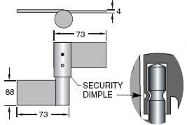 Trio Security Weld-Weld On B Ring Hinge - Zinc Plated
