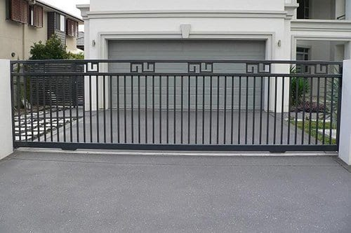 Black metal entrance gate