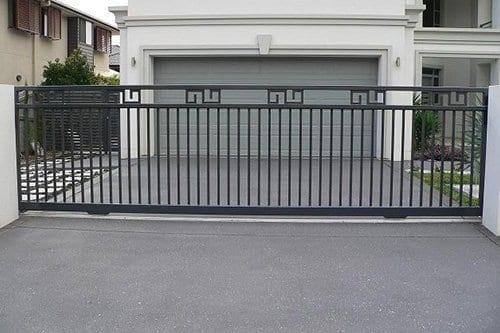Black metal entrance gate