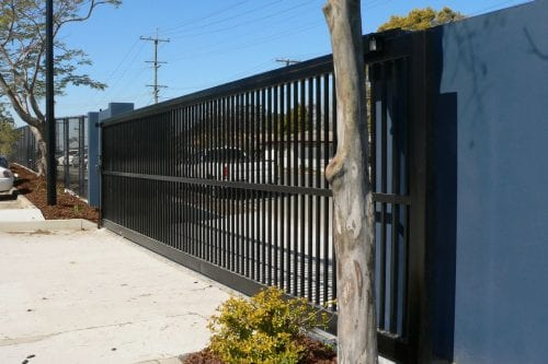 black sliding automatic gate